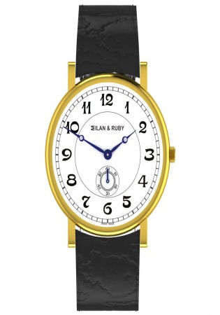 Milan & ruby ultra-thin classique 18k gold plated pvd quartz men' watch m12717