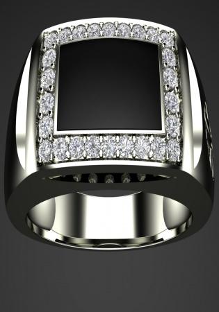 Milan & ruby 750 pinky band mr111 onyx diamond 0.35ct men ring