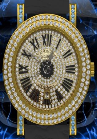 Bmw germany natural blue diamond watch quartz pvd g no2681