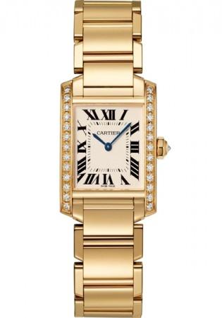 Cartier tank watch medium model yellow gold diamonds