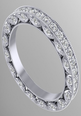 Parissart eternity band platinum 950 diamond men' ring