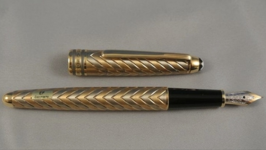 Montblanc meisterstuck solitaire 149 chevron 18k solid gold fountain pen H1