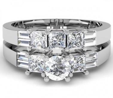 14k white gold round princess & baguette diamond ladies bridal 3 stone engagement ring wedding band set 3 1/10 ct H0