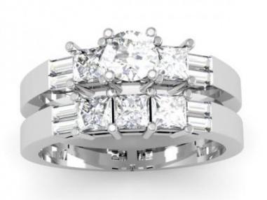 14k white gold round princess & baguette diamond ladies bridal 3 stone engagement ring wedding band set 3 1/10 ct H1