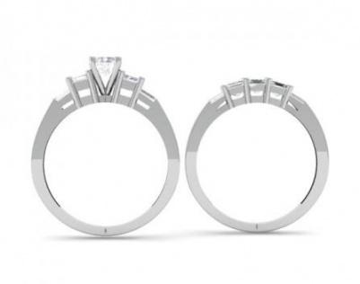 14k white gold round princess & baguette diamond ladies bridal 3 stone engagement ring wedding band set 3 1/10 ct H2