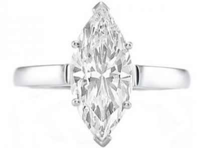 Certified 0.95 carat (ctw) 14k white gold real marquise cut diamond ladies engagement solitaire ring H0