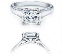 14k white gold real princess diamond 0.82 carat engagement ring H0