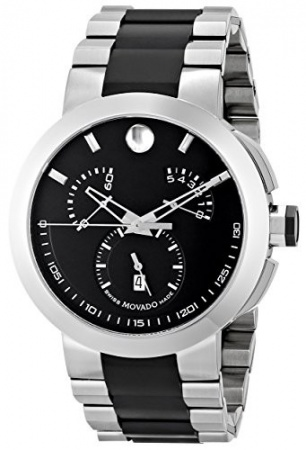 Movado verto black dial chronograph two tone stainless steel men's watch H0
