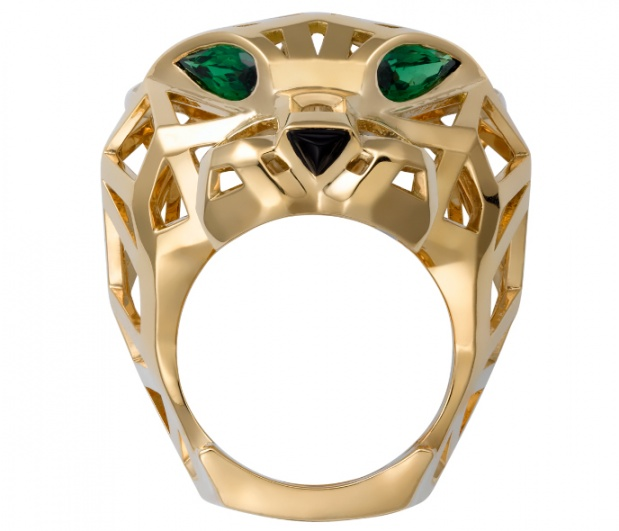 panthere de cartier' ring yellow gold tzavorite garnets onyx H1