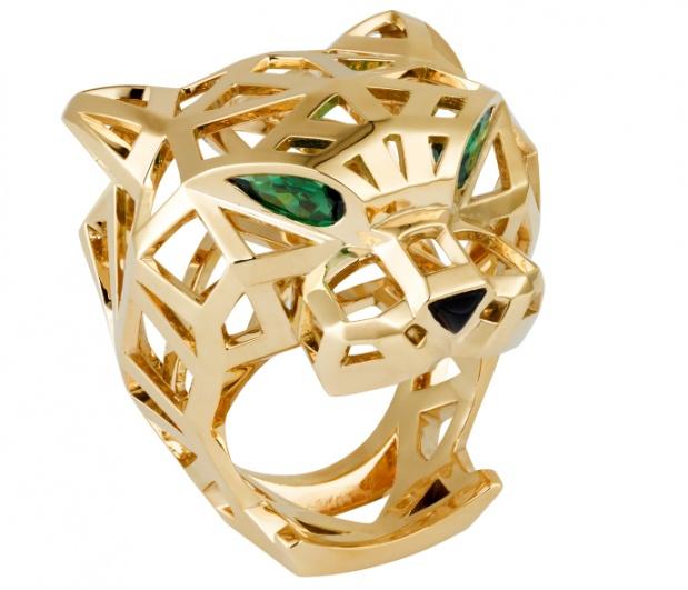 panthere de cartier' ring yellow gold tzavorite garnets onyx H2