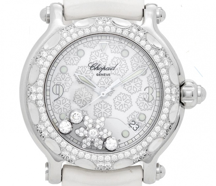 Chopard happy sport snowflake stainless steel and white gold women' watch H1
