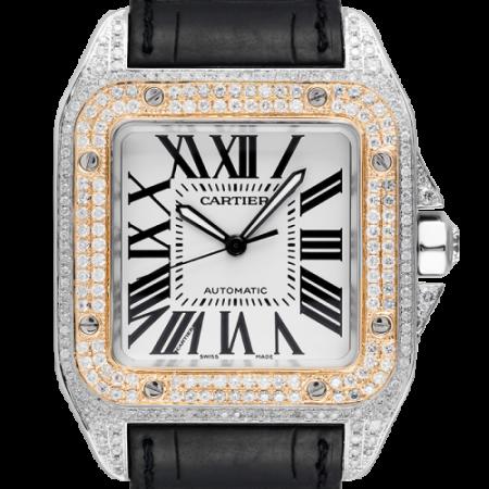 Cartier santos 100 l gold bezel diamond set automatic watch H0
