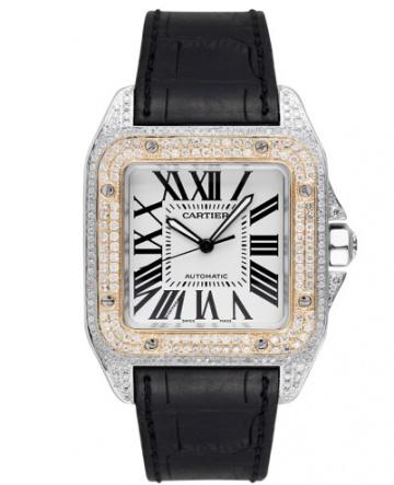 Cartier santos 100 l gold bezel diamond set automatic watch H1