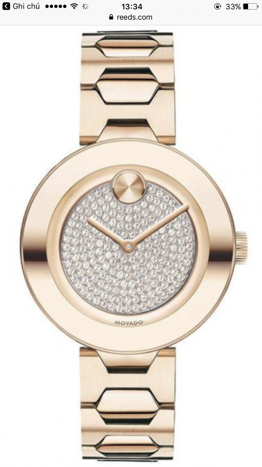 Movado bold crystal pavé rose gold tone women' watch 3600493 H0