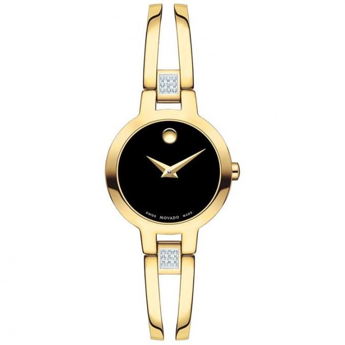 Movado amorosa yellow pvd diamond swiss quartz women's watch 0607155 H0
