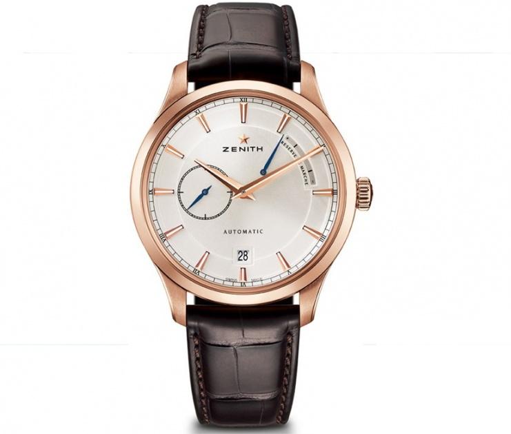Zenith captain power reserve silver dial 18kt rose gold men's watch H0