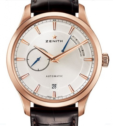 Zenith captain power reserve silver dial 18kt rose gold men's watch H1