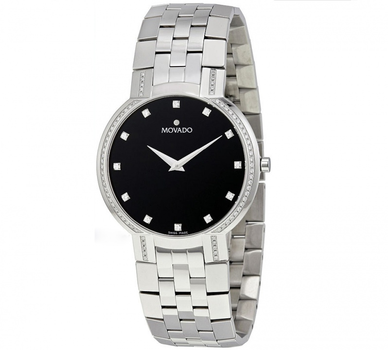 Movado faceto diamond black dial stainless steel mens watch H0