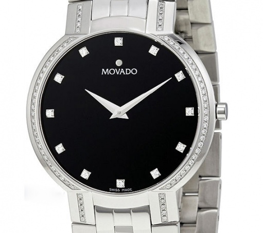 Movado faceto diamond black dial stainless steel mens watch H1