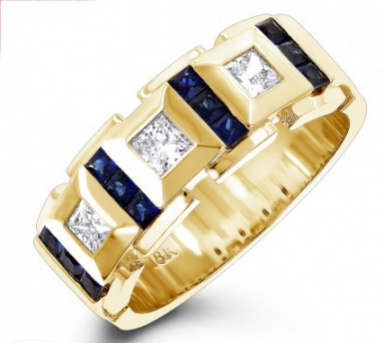 18k yellow gold unique diamond and sapphires band for men italy H0