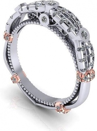 Verragio pave 14k w gold diamond wedding band women' ring H0
