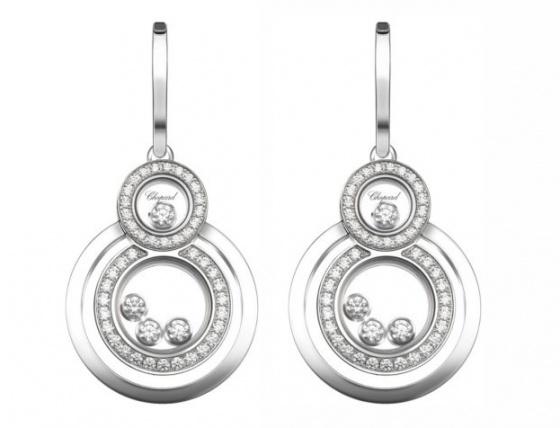 Chopard happy 8 diamond & 18k white gold drop earrings women's H0