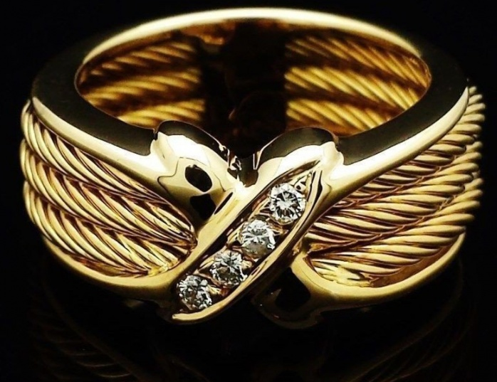 Vintage philippe charriol ring diamonds 18k solid gold H0