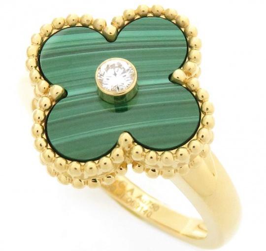 Van cleef & arpels vintage alhambra diamond 18k yellow gold women' ring H0