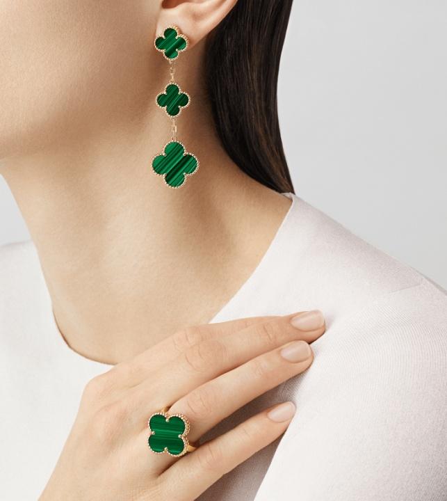 Van cleef & arpels diamond 18k yellow gold magic alhambra earrings 3 motifs H0
