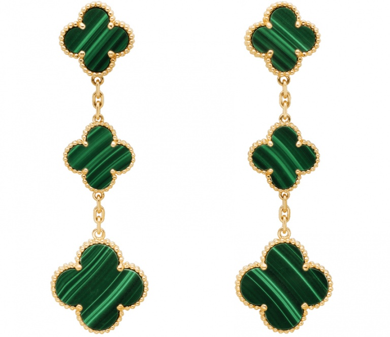 Van cleef & arpels diamond 18k yellow gold magic alhambra earrings 3 motifs H1