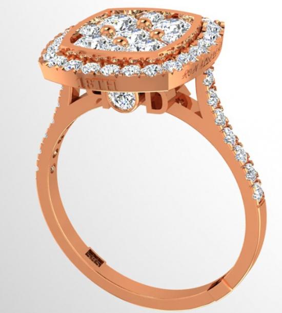 18th anniversary ronaldo diamond handmade shaped halo limited edition collection diamond natural 750 rose gold women' ring H0
