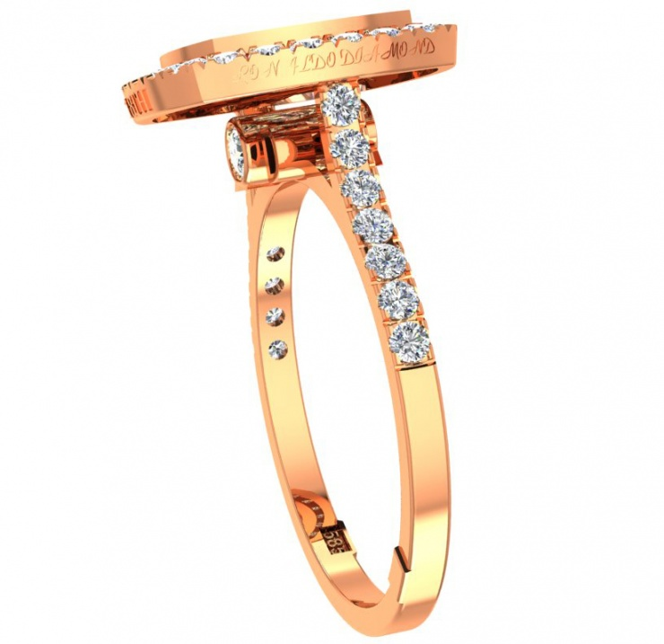 18th anniversary ronaldo diamond handmade shaped halo limited edition collection diamond natural 750 rose gold women' ring H1