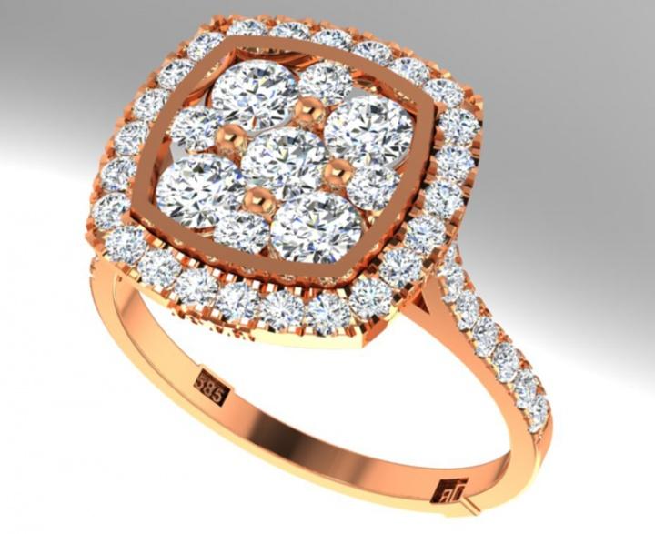 18th anniversary ronaldo diamond handmade shaped halo limited edition collection diamond natural 750 rose gold women' ring H2