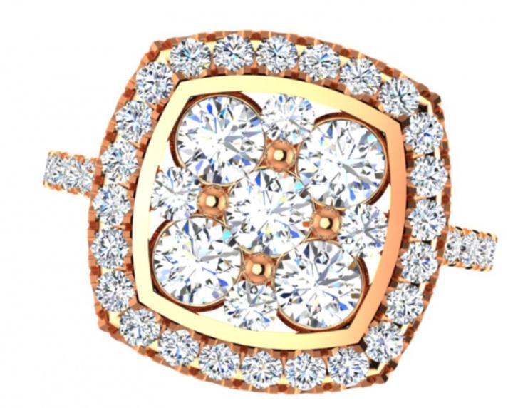 18th anniversary ronaldo diamond handmade shaped halo limited edition collection diamond natural 750 rose gold women' ring H4
