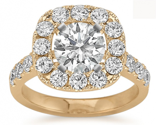 Shane co halo diamond engagement 14k yellow gold ring for women H0