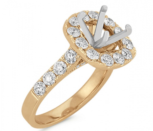 Shane co halo diamond engagement 14k yellow gold ring for women H1