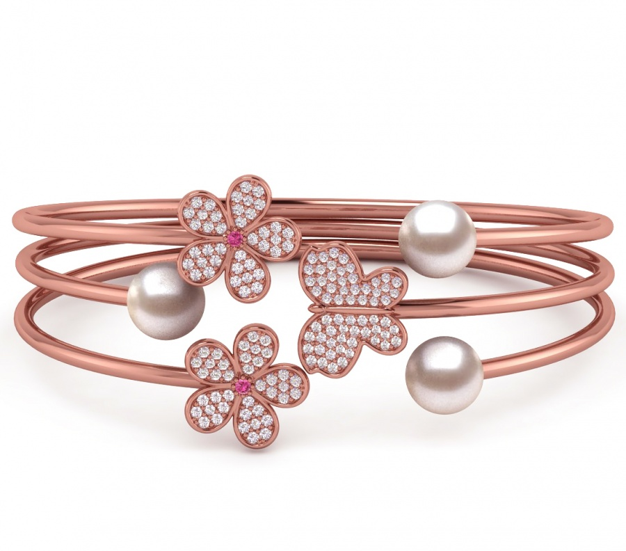 14k rose gold diamond and pink sapphire & white pearl butterfly flower bangle bracelet H0