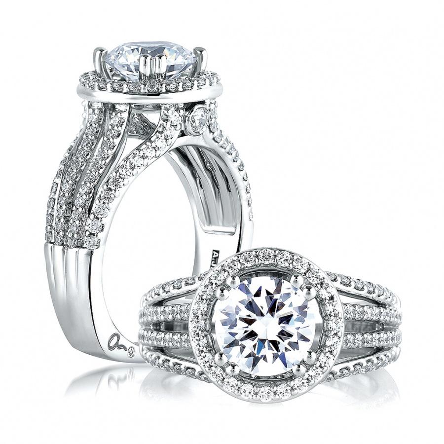 A. jaffe metropolitan 14k white gold diamond engagement ring setting H0