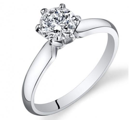 3/4 ct tw diamond 14k polished white gold engagement ring with igi certification H0
