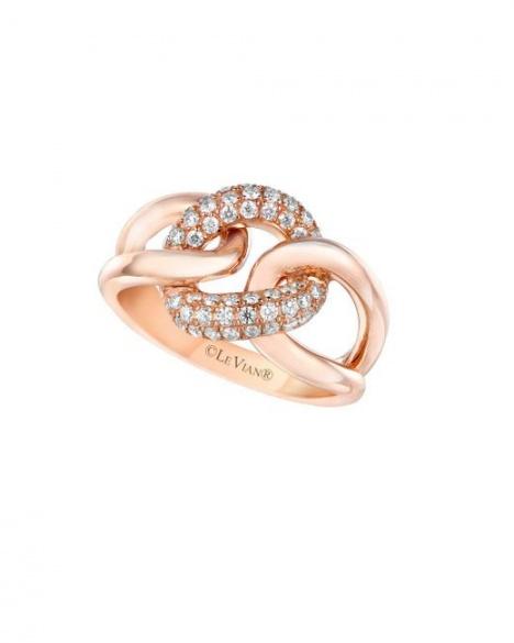 Le vian vanilla diamond and 14k strawberry gold ring H0