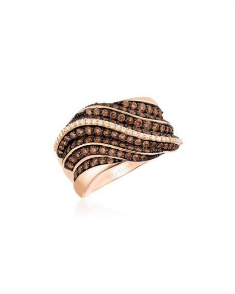 Le vian 14k gold strawberry chocolatier chocolate & vanilla diamond pleated ring H0