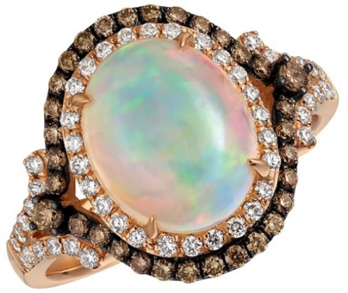 Le vian chocolatier neopolitan opal and 14k strawberry gold ring H0