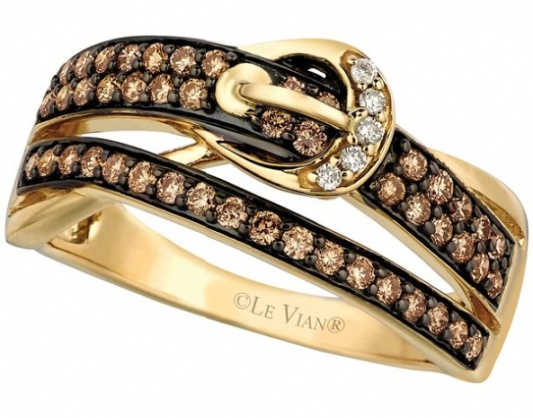 Le vian chocolatier chocolate diamonds vanilla diamonds and 14k honey gold ring H0