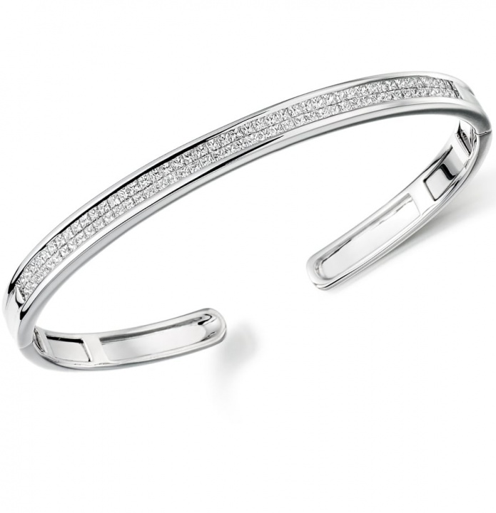 Lance james 9ct white gold 2.00ct princess cut diamond cuff bangle H0