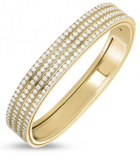 Roberto coin 18k rose gold diamonds portofino four rows bracelet H0