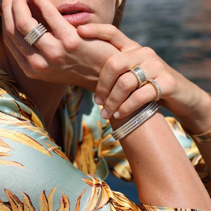 Roberto coin 18k rose gold diamonds portofino four rows bracelet H1