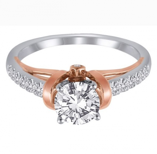 1/4 ct. tw. diamond semi mount engagement ring in 14k white & rose gold H0