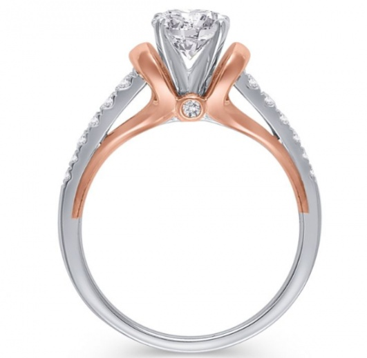1/4 ct. tw. diamond semi mount engagement ring in 14k white & rose gold H1