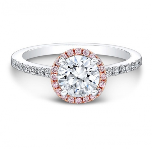 Natalie 18k white and rose gold pink and white diamond halo engagement ring H0
