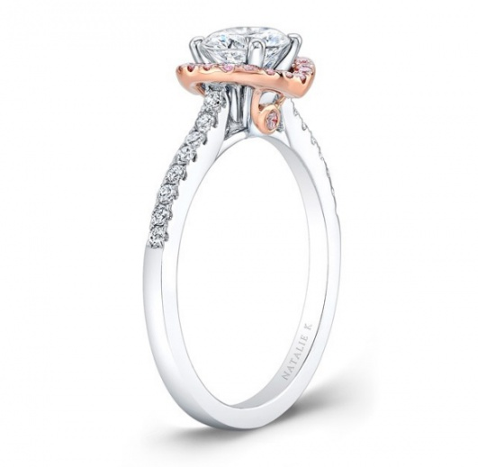 Natalie 18k white and rose gold pink and white diamond halo engagement ring H1